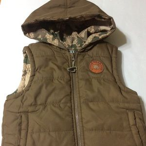 💯GYMBOREE Boy's Puffy Brown Camo Vest